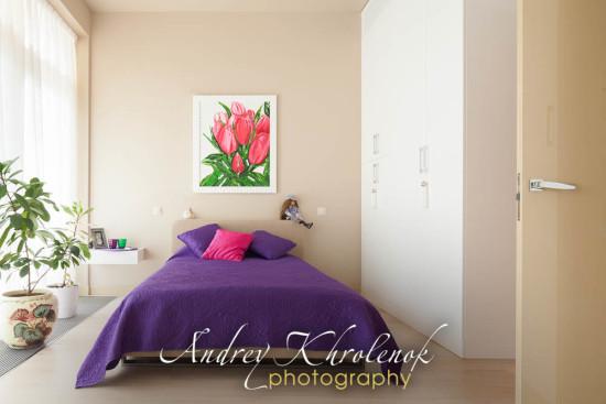 Спальня премиум-уровня в светлых бежевых тонах. © Фотограф Андрей Хроленок