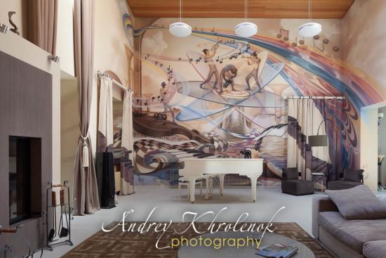 Гостиная с роялем в жилом коттедже в Подмосковье. © Фотограф Андрей Хроленок