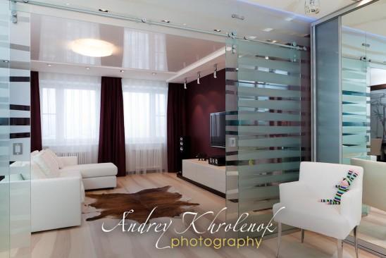 Гостиная со стеклянными дверями © Фотограф Андрей Хроленок